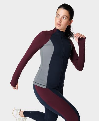 Power Gym Zip Through Jacket, Steel Blue | Sweaty Betty