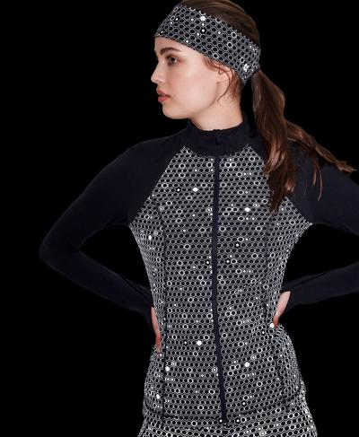Power Reflective Workout Zip Through Jacket, Grey Reflective Geo Print | Sweaty Betty