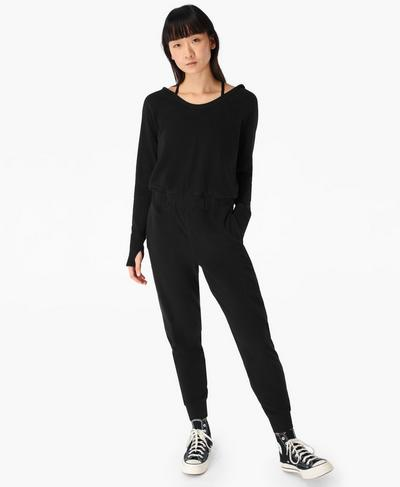 Hibernate Luxe Fleece Jumpsuit, Black | Sweaty Betty