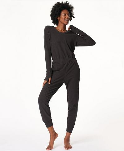 Hibernate Luxe Fleece Jumpsuit, Charcoal Grey | Sweaty Betty