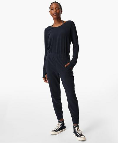 Hibernate Luxe Fleece Jumpsuit, Navy Blue | Sweaty Betty