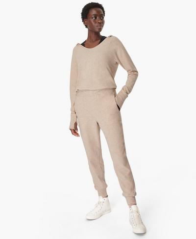 Hibernate Luxe Fleece Jumpsuit, Oatmeal Marl | Sweaty Betty