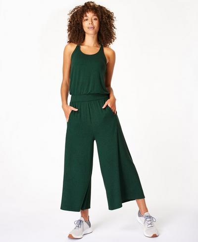 Serenity Culotte Jumpsuit, June Bug Green | Sweaty Betty