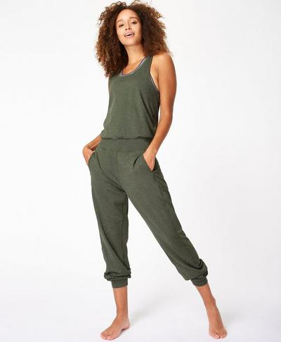 Gary Jumpsuit, Olive Marl | Sweaty Betty