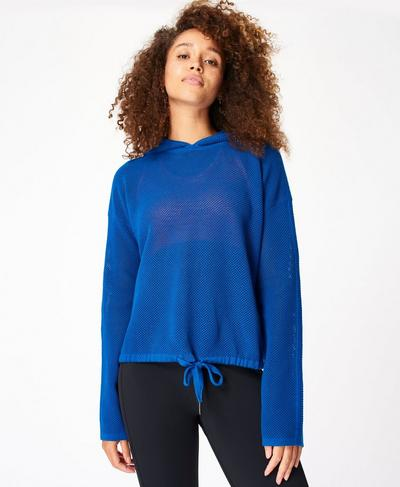 Wimbledon Mesh Knitted Hoody, Blue Quartz | Sweaty Betty