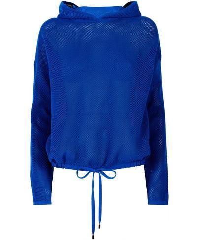 Wimbledon Mesh Knitted Hoodie, Blue Quartz | Sweaty Betty