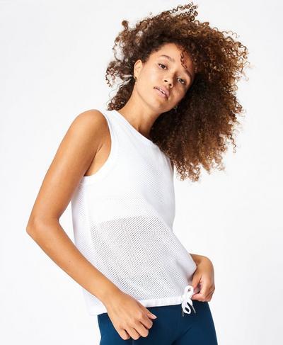Wimbledon Mesh Knitted Tank, White | Sweaty Betty