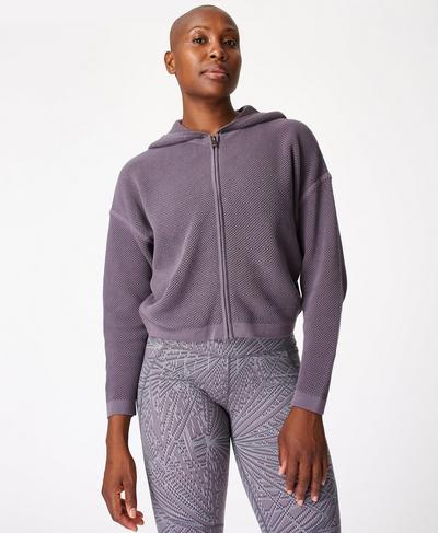 Wimbledon Mesh Zip Through Hoodie, Moonrock Purple | Sweaty Betty