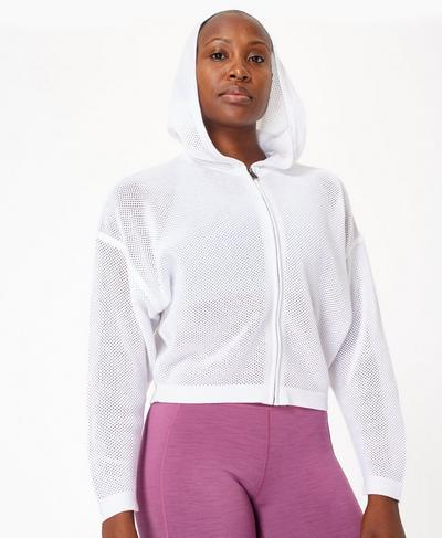 Wimbledon Mesh Zip Through Hoody, White | Sweaty Betty