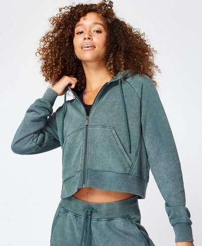 Gary Zip Through Cropped Hoody, June Bug Green | Sweaty Betty
