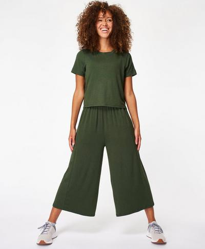 Meditate Culotte Jumpsuit, Olive | Sweaty Betty