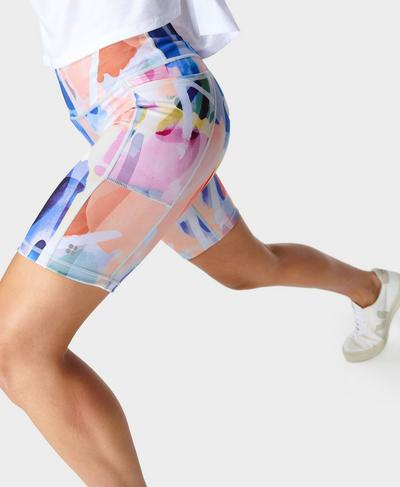 """Super Sculpt 8"""" Sustainable Cycling Shorts, Pink Art Print 