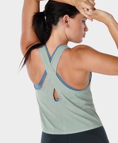 Breeze Cross Back Running Vest, Mirage Green | Sweaty Betty