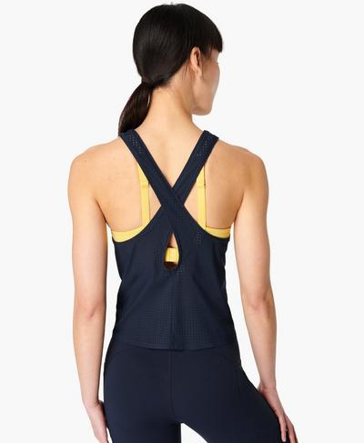 Breeze Cross Back Running Vest, Navy Blue | Sweaty Betty