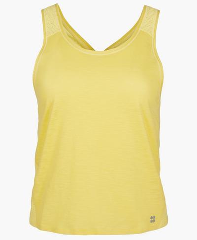 Breeze Cross Back Running Vest, Riviera Yellow | Sweaty Betty