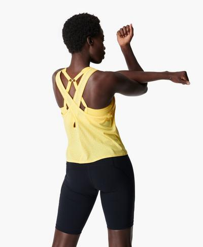 Breeze Cross Back Running Tank, Riviera Yellow | Sweaty Betty