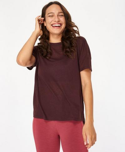 Flex Gym T-Shirt, Black Cherry | Sweaty Betty