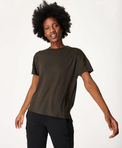 Flex Gym T-Shirt, Dark Forest Green | Sweaty Betty