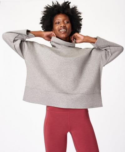Breathe Jumper, Cloud Grey Marl | Sweaty Betty