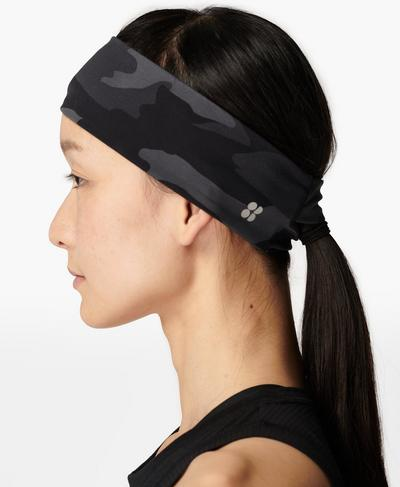 Power Headband, Black Tonal Camo Print | Sweaty Betty
