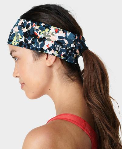 Power Headband, Blue Floral Splash Print | Sweaty Betty
