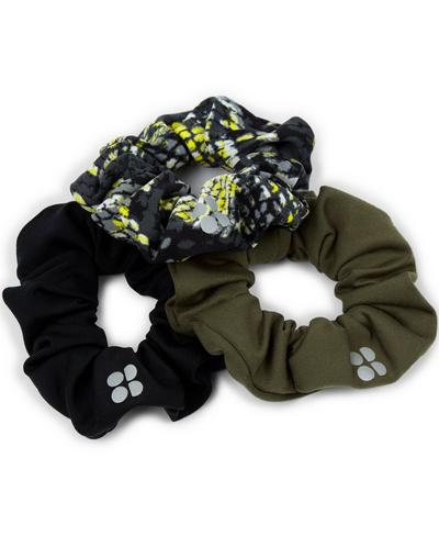 Scrunchie 3 Pack, Citrus Green Snake Print | Sweaty Betty