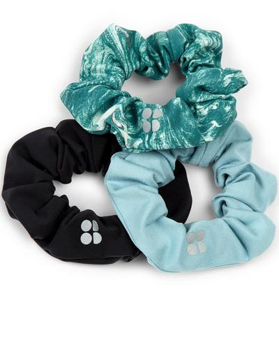 Scrunchie 3 Pack, Pale Aqua Green Water Print | Sweaty Betty