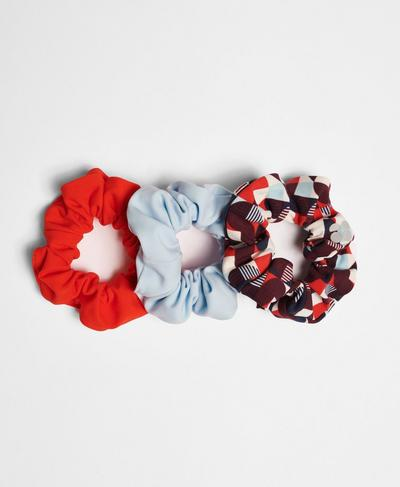 Scrunchie 3 Pack, Red Retro Print | Sweaty Betty