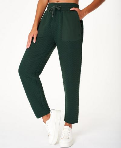Ramble Quilted Trouser, Dark Forest Green | Sweaty Betty