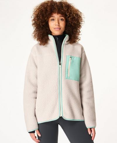 Wanderer Sherpa Jacket, Cloud Grey | Sweaty Betty