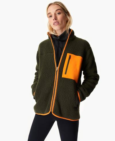 Wanderer Sherpa Jacket, Dark Forest Green | Sweaty Betty
