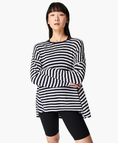 Easy Peazy Top, Navy White Stripe | Sweaty Betty