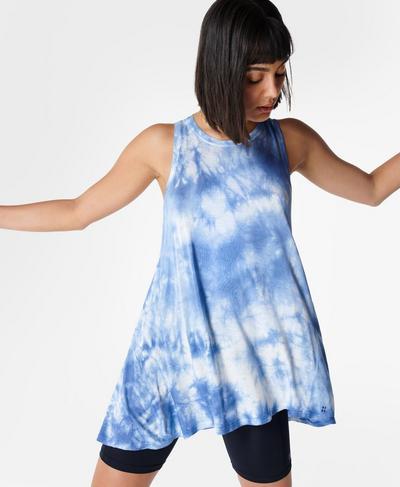 Easy Peazy Vest, Blue Tie Dye | Sweaty Betty