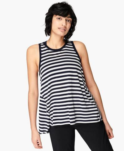 Easy Peazy Tank, Navy White Stripe | Sweaty Betty
