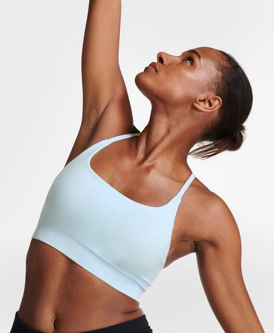 Foundation Seamless Yoga-BH mit Polsterung, Alpine Blue | Sweaty Betty