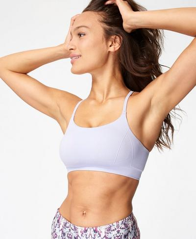 Foundation Seamless Padded Yoga Bra, Heather Purple | Sweaty Betty
