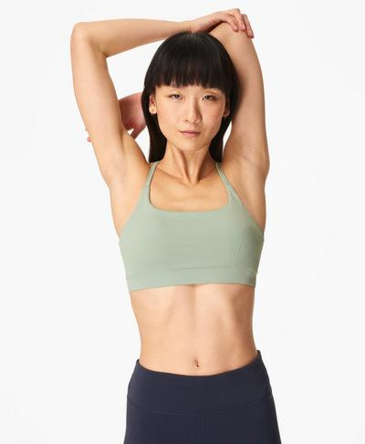 Foundation Seamless Padded Yoga Bra, Marina Green | Sweaty Betty
