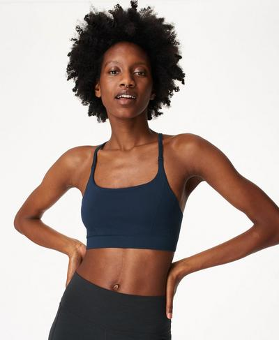 Foundation Seamless Padded Yoga Bra, Navy Blue | Sweaty Betty