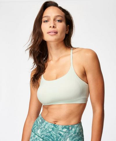 Foundation Seamless Padded Yoga Bra, Pale Aqua Green | Sweaty Betty