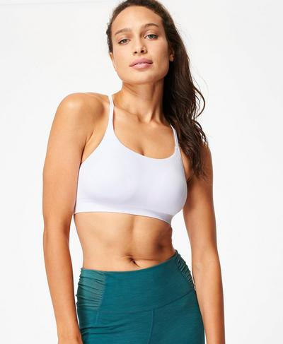 Foundation Seamless Padded Yoga Bra, White | Sweaty Betty