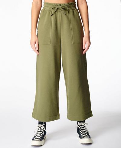 Sweat Wide Leg Culotte, Moss Green | Sweaty Betty