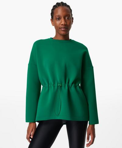 Grace Crew Neck Sweatshirt, Jewel Green | Sweaty Betty