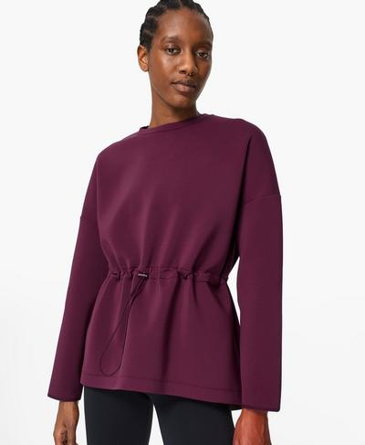 Grace Crew Neck Jumper, Plum Red | Sweaty Betty