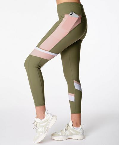 Power Block 7/8 Workout Leggings, Moss Green | Sweaty Betty