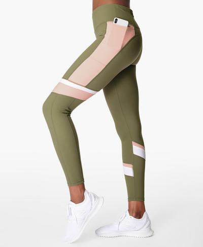 Power Block Gym Leggings, Moss Green | Sweaty Betty