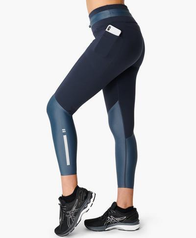 Power Mission High-Waisted 7/8 Gym Leggings, Navy Blue Colourblock | Sweaty Betty