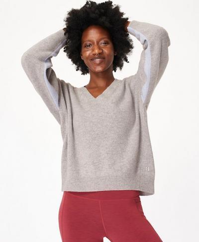 Recline Wool V-Neck Jumper, Cloud Grey Marl | Sweaty Betty