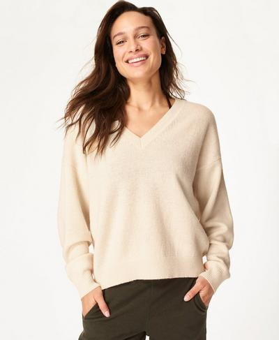 Recline Wool V-Neck Sweater, Lily White | Sweaty Betty