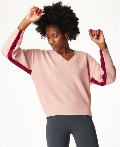 Recline Wool V-Neck Jumper, Misty Rose Pink | Sweaty Betty