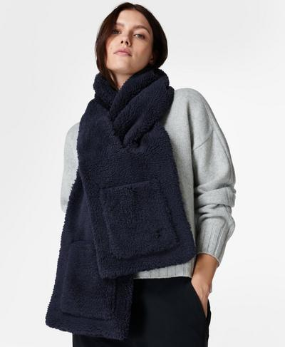 Sherpa Pocket Scarf, Navy Blue | Sweaty Betty